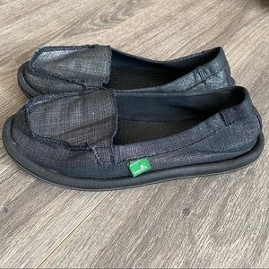 Sanuk Black and Silver Loafers